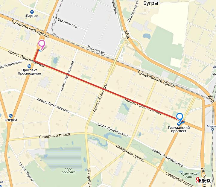 никогда встретите маршрутки от метро озерки до метро лесная неделю